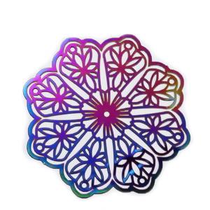 Pandantilinl otel inoxidabil 201, electroplacat, multicolor, floare 39.5x37x0.3mm 1 buc