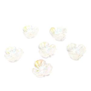 Flori plastic transparent, placat multicolor, 6x6x2.5mm 1 buc