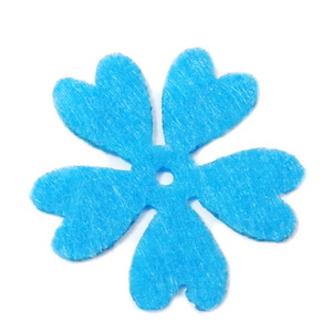 Fetru bleu, floare 35x35x0.8mm-set 4buc 1 set