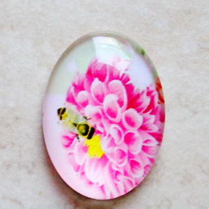 Cabochon sticla 25x18mm, flori, model 31 1 buc