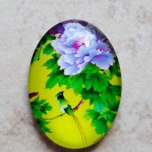 Cabochon sticla 25x18mm, flori, model 36 1 buc