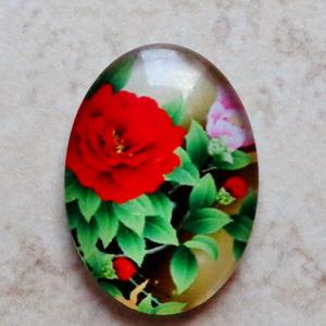 Cabochon sticla 25x18mm, flori, model 38 1 buc