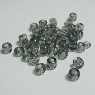 Margele nisip, gri, transparente, 4mm 20 g