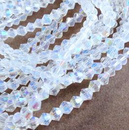 Margele sticla transparenta AB, biconice, 5mm 10 buc