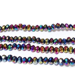 Margele sticla multifete, placate multicolor, 3x2mm 10 buc
