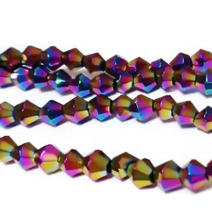 Margele sticla, biconice, albastre, placate multicolor, 4mm 10 buc