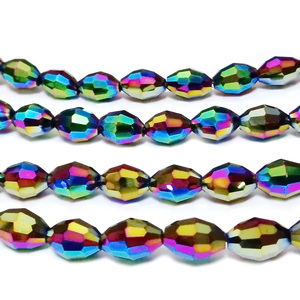 Margele sticla, ovale, placate multicolor, 8.5x6mm 1 buc