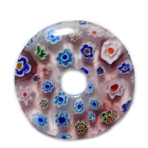 Pandantiv sticla Millefiori, mov cu floricele, 35x5.5mm 1 buc