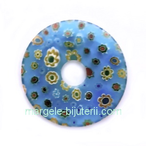 Pandantiv sticla Millefiori, bleu cu floricele, 35x5.5mm 1 buc