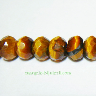 Ochi de tigru rondele multifete 6x4 mm 1 buc
