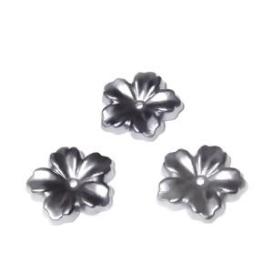 Floare cu 5 petale, plastic ABS, imitatie perle plastic, gri, 12x13x1.5mm 1 buc