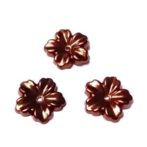 Floare cu 5 petale, plastic ABS, imitatie perle plastic, maro, 12x13x1.5mm 1 buc