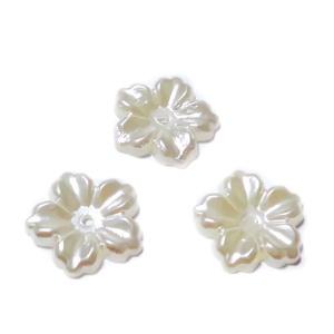 Floare cu 5 petale, plastic ABS, imitatie perle plastic, crem, 12x13x1.5mm 1 buc