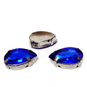 Margele montee rhinestone, plastic, albastru-cobalt, lacrima 18x13x6.5mm 1 buc