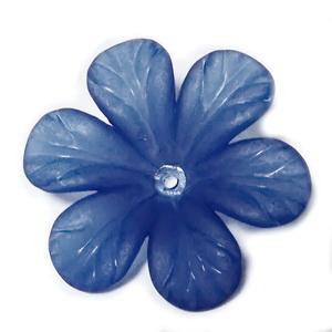 Flori acrilice, frosted, albastru-cobalt, 33x8mm  1 buc