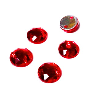 Aplice acrilice pentru cusut, multifete, rosie, 8x3mm  1 buc
