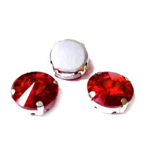 Margele montee rhinestone, sticla, rotunde, rosii, 15x7.5mm 1 buc