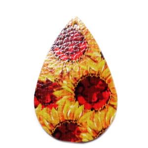 Pandantiv piele ecologica, portocaliu cu flori, lacrima 55x35x2mm 1 buc