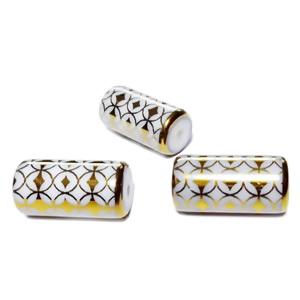 Margele sticla albe electroplacate, cu romburi aurii, tub 20x10mm 1 buc