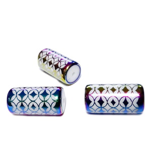 Margele sticla albe electroplacate, cu romburi multicolore, tub 20x10mm 1 buc