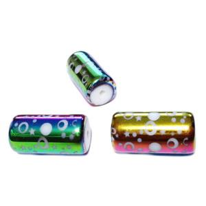 Margele sticla albe electroplacate multicolor, cu cercuri, tub 20x10mm 1 buc