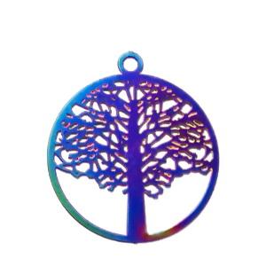 Pandantiv otel inoxidabil 201, electroplacat, multicolor, copacul vietii, 23x20x0.3mm 1 buc