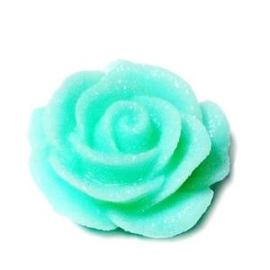 Cabochon rasina verde deschis, frosted, cu luciu, 30x30x11mm, baza 22~24mm 1 buc
