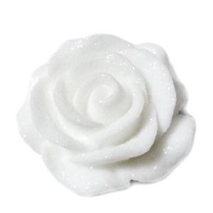Cabochon rasina alba, frosted, cu luciu, 30x30x11mm, baza 22~24mm 1 buc