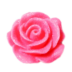 Cabochon rasina roz inchis, frosted, cu luciu, 30x30x11mm, baza 22~24mm 1 buc