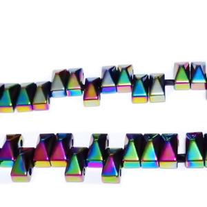 Hematite cu 2 orificii, placate multicolor, 6x3mm 1 buc