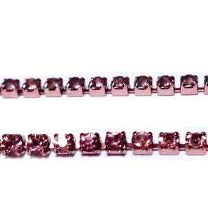 Margele montee rhinestone, insiruite, sticla mov deschis pe baza mov, 2x2mm 1 m