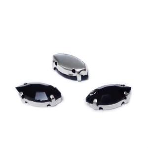 Margele montee rhinestone, sticla, ochi de cal, negre, 12x6x4.5mm 1 buc
