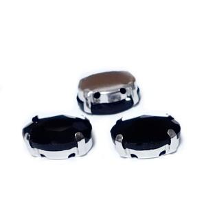 Margele montee rhinestone, sticla, ovale, negre, 14x10x6.5mm 1 buc