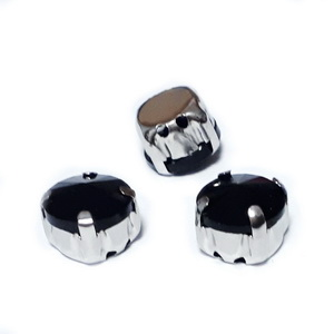 Margele montee rhinestone, sticla, rotunde, negre, 9.5x6mm 1 buc