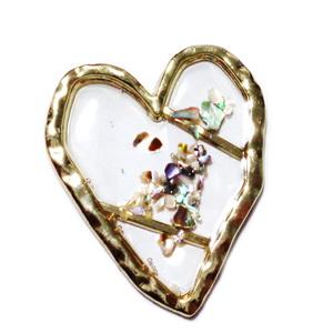 Cabochon auriu cu rasina epoxidica si scoica paua in interior, 37x31x2mm 1 buc