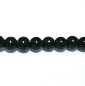 Margele sticla negre 3mm -  32 cm - cca 100 buc 1 sirag