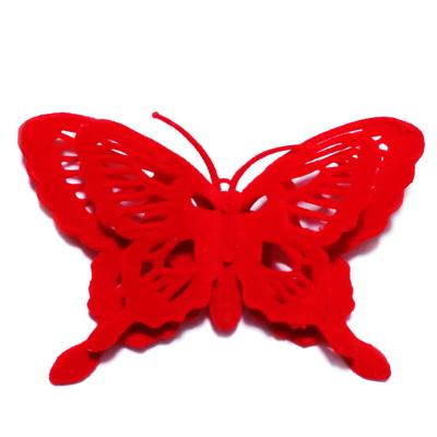 Fluturi catifea rosie, 14x9cm, cu clama de prindere 1 buc