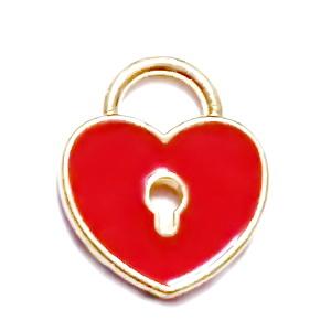 Pandantiv auriu, emailat, inima 13x11x1.5mm 1 buc