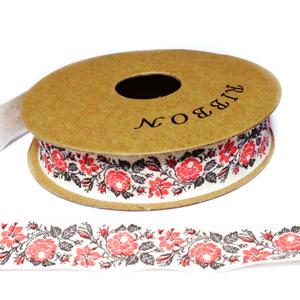 Panglica ribbon crem cu flori,  rola lungime 22m, latime 15mm 1 buc