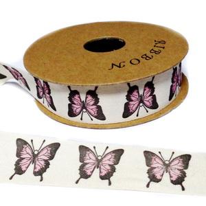 Panglica ribbon crem cu fluturi, rola lungime 22m, latime 20mm 1 buc
