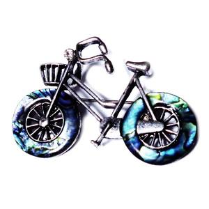 Pandantiv/brosa tibetan cu scoica paua, bicicleta 52x37mm 1 buc