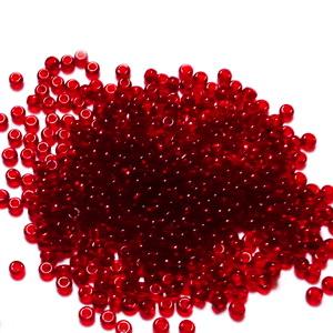 Margele nisip, Rocaille Preciosa 10/0-2.3mm, rosu inchis, transparente 20 g