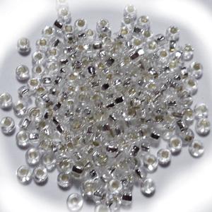 Margele nisip, Rocaille Preciosa 8/0-3mm, transparente cu miez argintiu 1 buc