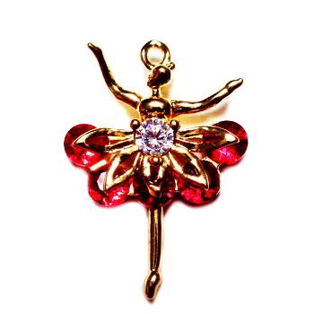 Pandantiv auriu, cu zirconiu rosu si transparent, balerina, 22x15x4.5mm 1 buc