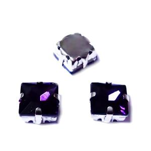 Margele montee rhinestone, sticla, patrate, violet, 8x8x5.5mm 1 buc
