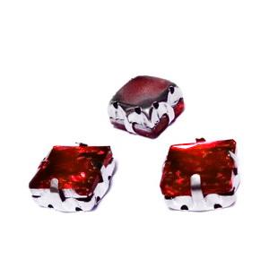 Margele montee rhinestone, sticla, patrate, rosii, 10.5x10.5x7mm 1 buc