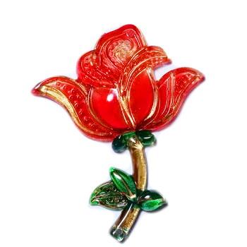 Conector/link plastic, trandafir rosu cu auriu, 51x41x5.5mm 1 buc