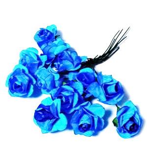 Trandafiri din hartie bleu, 20x12mm-legatura 12 buc 1 buc