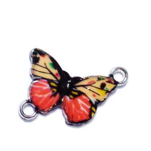 Conector/link metalic, emailat, fluturas, rosu-coral cu auriu, 14.5x20x2mm 1 buc
