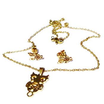 Set lantisor cu pandantiv si cercei otel inoxidabil 304, 45cm, auriu, cu bufnite 1 buc